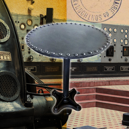 meuble table ronde acier