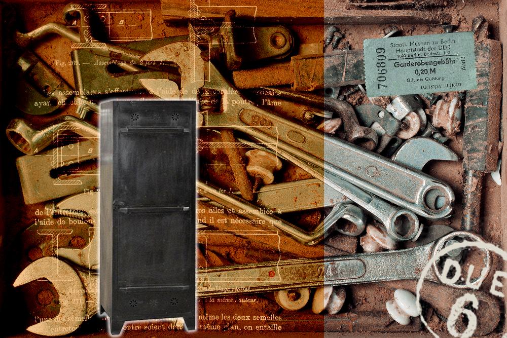 meuble acier vintage noir