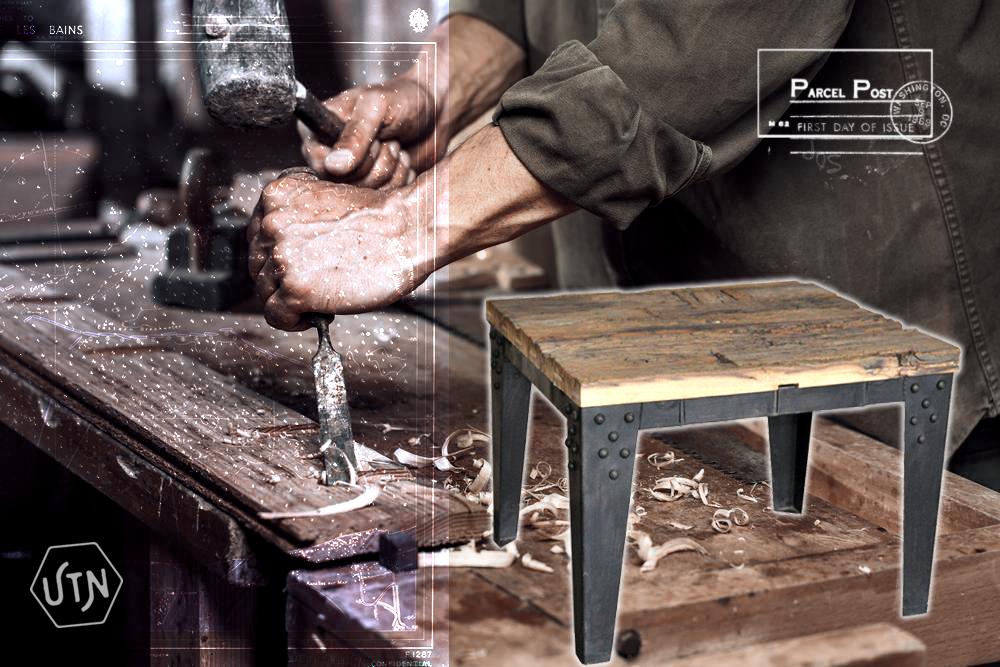 table acier bois industriel